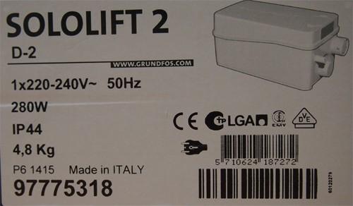 GRUNDFOS Kleinhebeanlage Sololift2 D-2